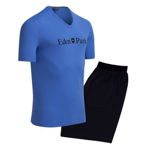Pyjama court homme inscription Eden Park bleu