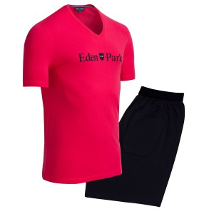 Pyjama court homme inscription Eden Park rose